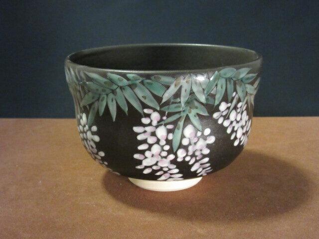 【九谷焼】 抹茶碗 (茶器、茶道具、抹茶碗) 藤の花