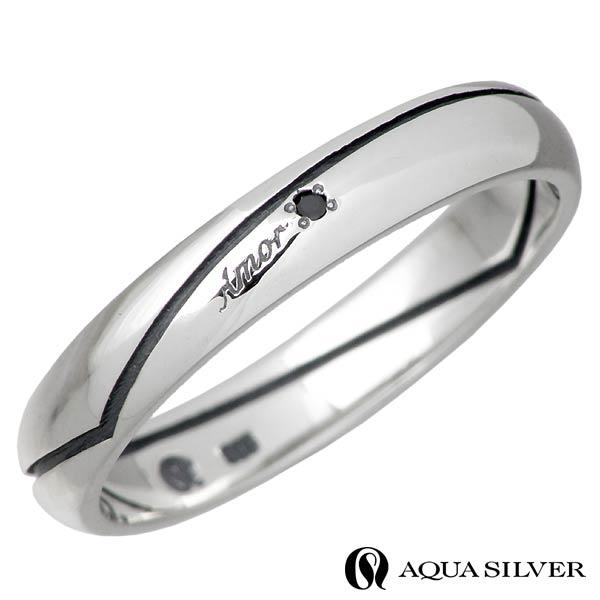 AQUA SILVER【アクアシルバー】 リング 指輪 メンズ Heart ブラックダイヤモンド シルバー 13~21号 ASR181FM-BKDM