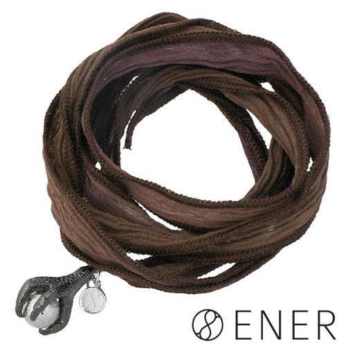 ENER【エネル】ブレスレット メンズ シルバー COEXISTENCE 共存 シルクリボン ギベオン隕石 ブラック ブラウンカラーリボン 925 スターリングシルバー ENER-KF-20BR