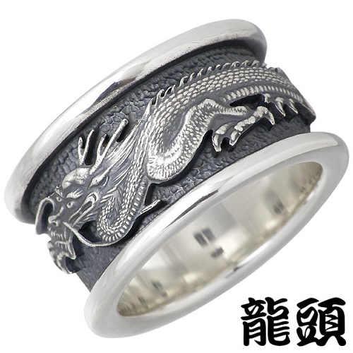 【龍頭】RYUZU リング 指輪 メンズ シルバー 龍 大 20~27号 950 ブリタニアシルバー RYUZU-R-45