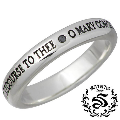 SAINTS【セインツ】 リング 指輪 メンズ シルバー ブラックダイヤモンド マリア 15~21号 925 スターリングシルバー SSR11-109BD