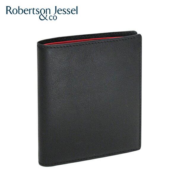 特価情報 ロバートソン ジェッセル2つ折り財布カード6枚(小銭入れなし)カーフ ブラック/レッド S11001 Robertson Jessel 【ラッピング無料】【送料無料】【RCP】