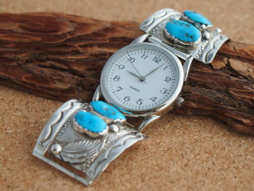 インディアンジュエリー・ナバホ族 ターコイズとスタンプワーク Men'sブレスウォッチ(腕時計)