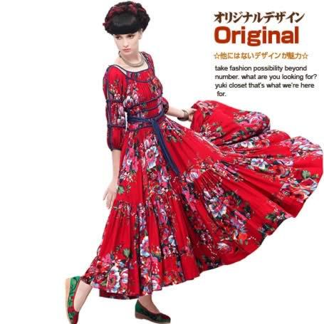 オリジナルデザイン エスニック系/チベット族調花柄プリントロング丈ワンピース/七分袖