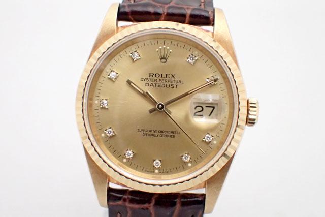 ROLEX ロレックス デイトジャスト 16238G K18YG/革 中古品 X番(1992年)メンズ シャンパンゴールド10Pダイヤ 腕時計【中古】【ロレックス】【金無垢】【K18YG】【16238G】【送料無料】