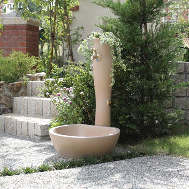 【水栓柱】【立水栓】ナチュラルデザインの立水栓「ポッシュ」【水栓柱+ガーデンパン+蛇口2個セット】フラワーポットが可愛い屋外水栓【送料無料】