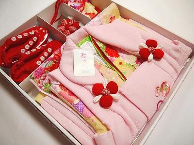 七五三  仕立て上がり 女児用三つ身 きものと被布コートセット 花ひめ」 合繊ピンク/淡いイエロー Vol.8