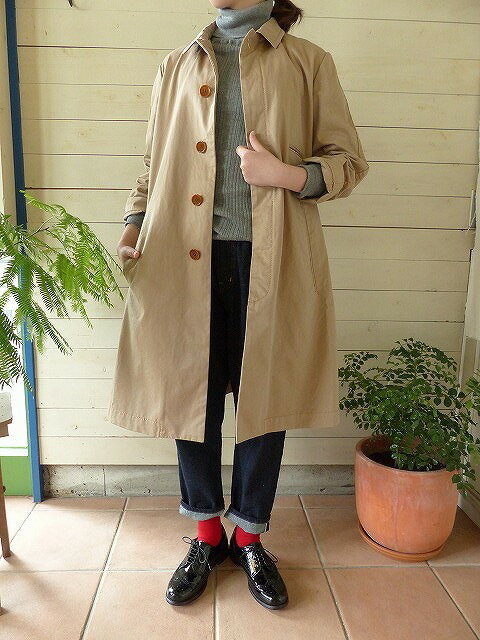 贅沢 homspun(ホームスパン) ギャバステンカラーコート(172-0088)