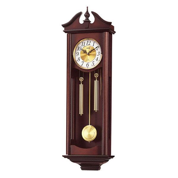日用品雑貨 リズム RHYTHM 掛け時計 キャロラインR 4MJ742RH06 濃茶木地仕上