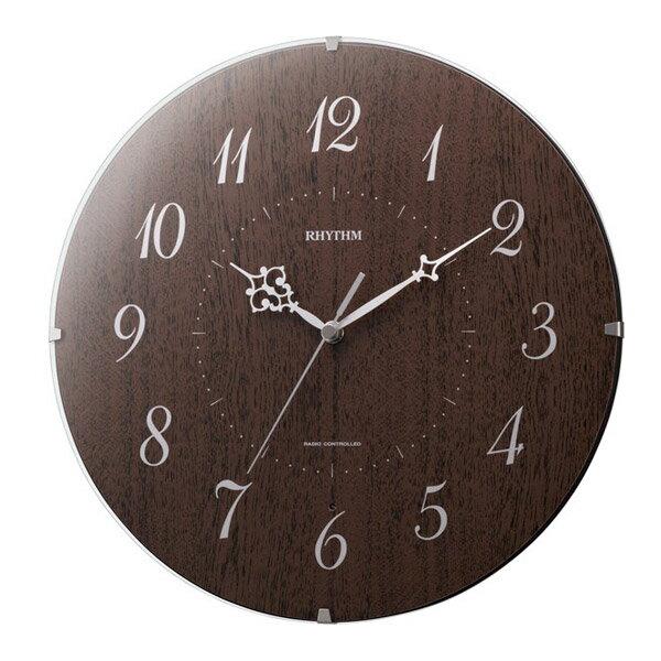 生活用品 リズム RHYTHM 電波 掛け時計 シンプルモードソレア 8MYA27SR06 茶色半艶仕上