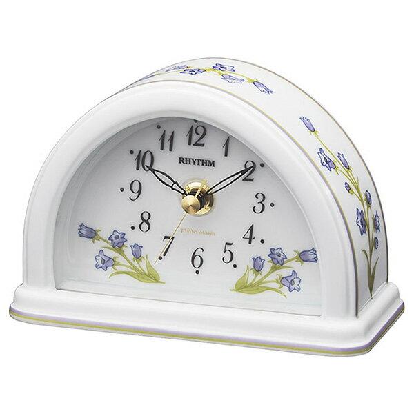 日用品雑貨 リズム RHYTHM フィオリーナR624 置き時計 8RG624SR12 ホワイトつりがね草