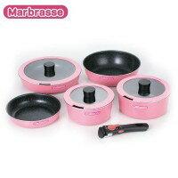 家事用品 Marbrasse(マーブラッセ) IH対応 着脱式ハンドル鍋・ディープパン・フライパン 5点セット MM-9518(1033588)