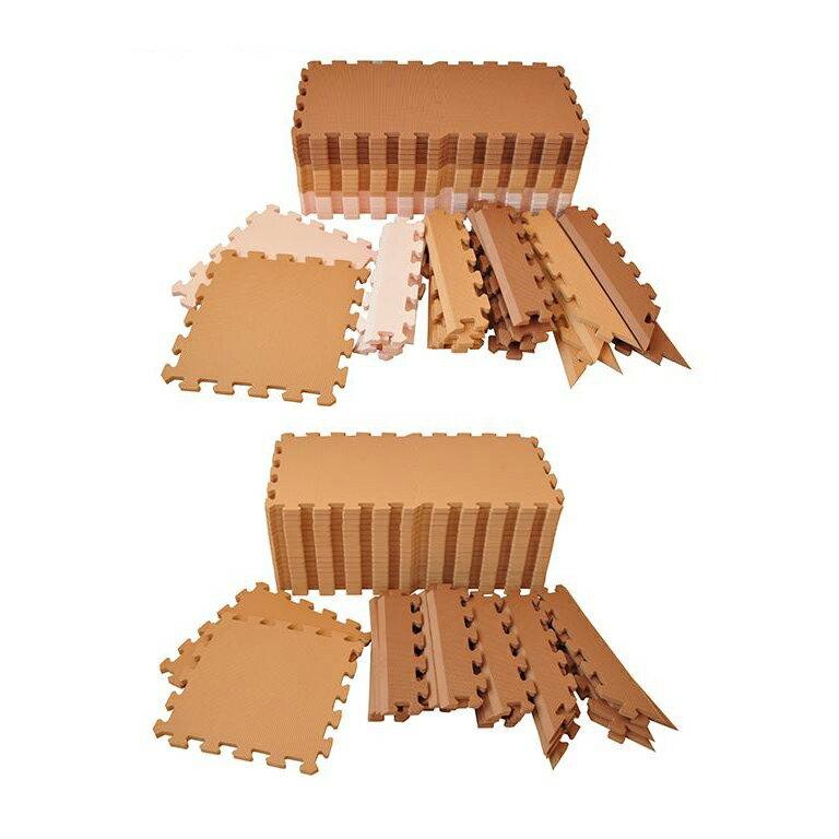 抗菌加工 フロアーマット(ジョイントマット) 195cm×195cm(約2畳分) カフェ・キャラメル