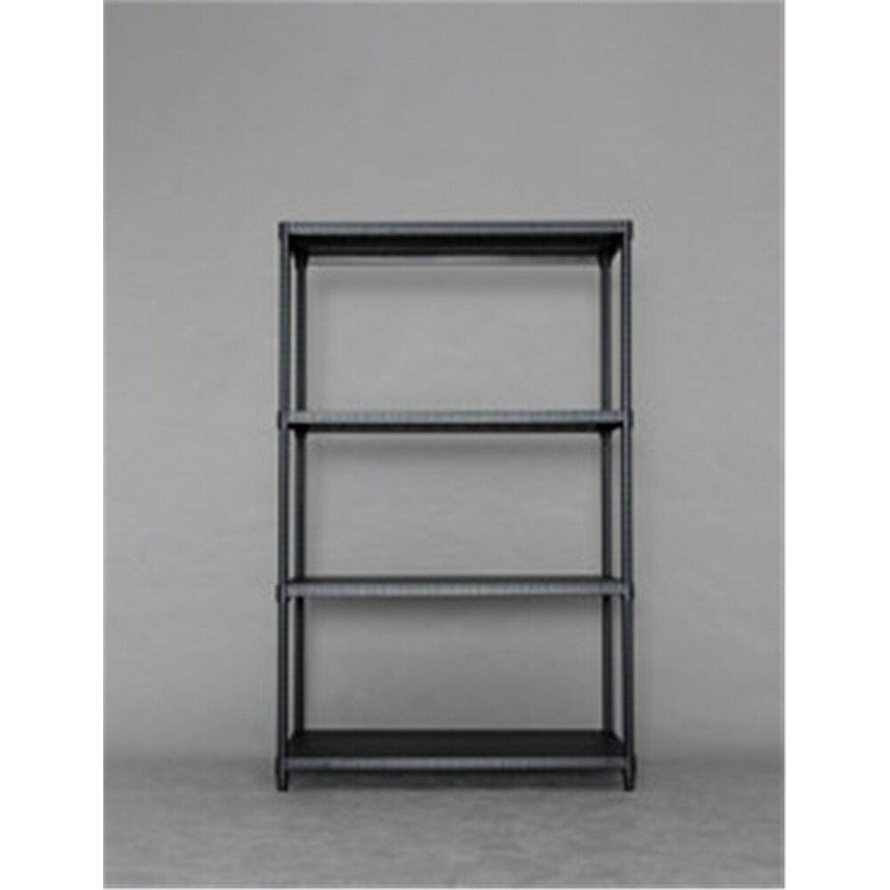 オープンシェルフ スチールラシェルフ 収納家具 カラーパンチングラック 棚板4枚タイプ 9015 ブラック