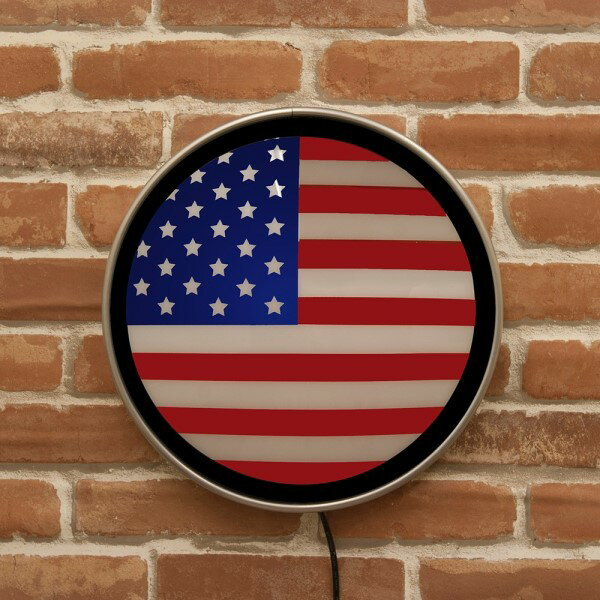 アメリカ雑貨 BARなどでよく見かける 人気の ラウンドウォールランプ  US Flag