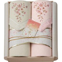 雑貨品 桜刺しゅう シルク混綿毛布2P(木箱入) OK1715 C7140590