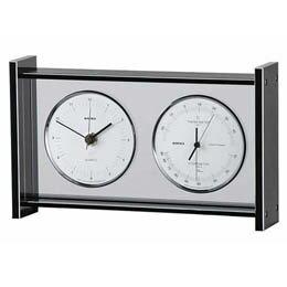 ギャラリー温度・湿度・時計 EX-792 シルバー