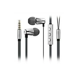 ヘッドホン・イヤホン Alauda Full Metal Earphones with mic and 3button remote グレー EJ402