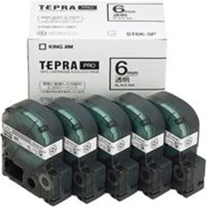 生活用品・インテリア・雑貨 キングジム テプラ PROテープ ST6K-5P 透明に黒文字 6mm 5個