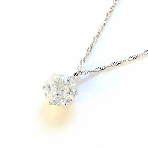 ネックレス・ペンダント 純プラチナ0.7ct一粒石ダイヤモンドペンダント/ネックレス