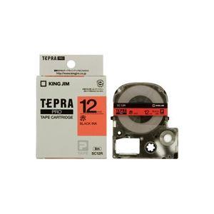 文具・オフィス用品 (まとめ買い)キングジム テプラPROテープ SC12R 赤に黒文字 12mm 【×5セット】