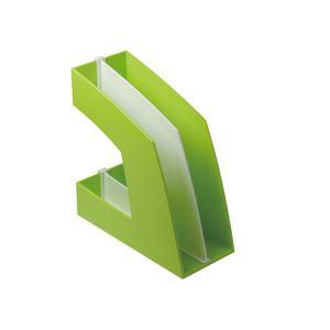 文具・オフィス用品 日用品雑貨 便利グッズ  (まとめ買い)ファイルボックス(仕切り付) A4タテ グリーン 10個