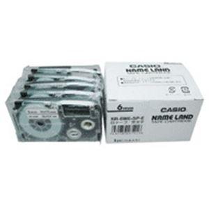 文具・オフィス用品 カシオ計算機(CASIO) テープ XR-6WE-5P-E 白に黒文字 6mm 5個