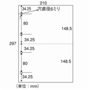 プリンター 日本紙通商 カット紙 A4-2-4 2分割4穴 A4 500枚×5冊