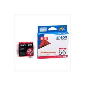 パソコン・周辺機器 (業務用40セット) エプソン EPSON インクカートリッジ ICR66 レッド �×40セット】