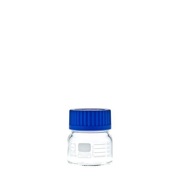 科学・研究・実験 関連商品 ねじ口びん 広口 青キャップ付 250mL【10個】