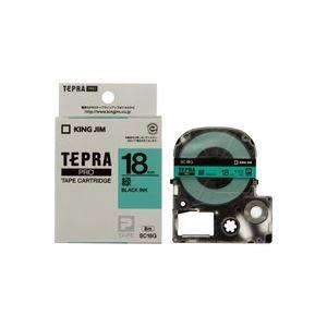 生活用品・インテリア・雑貨 (業務用30セット) キングジム テプラPROテープ SC18G 緑に黒文字 18mm 【×30セット】