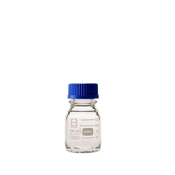 科学・研究・実験 関連商品 ねじ口びん セーフティコート 青キャップ付 150mL【10個】