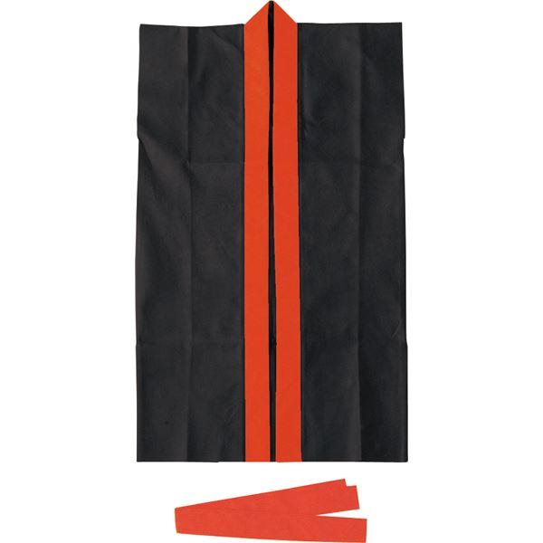 生活日用品 雑貨  (まとめ買い)ロングハッピ不織布 黒(赤襟)J(ハチマキ付) 【×30セット】