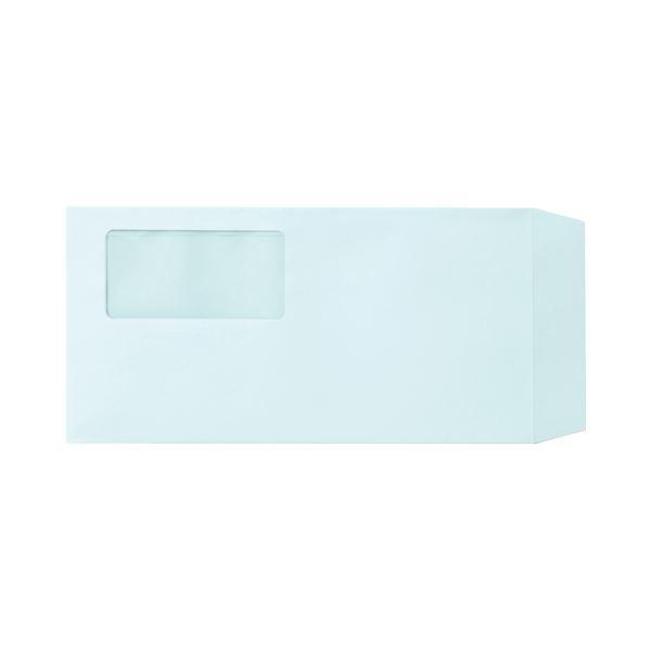 文具・オフィス用品 (まとめ) TANOSEE 窓付封筒 ワンタッチテープ付 長3 80g/m2 ブルー 1パック(100枚) 【×4セット】