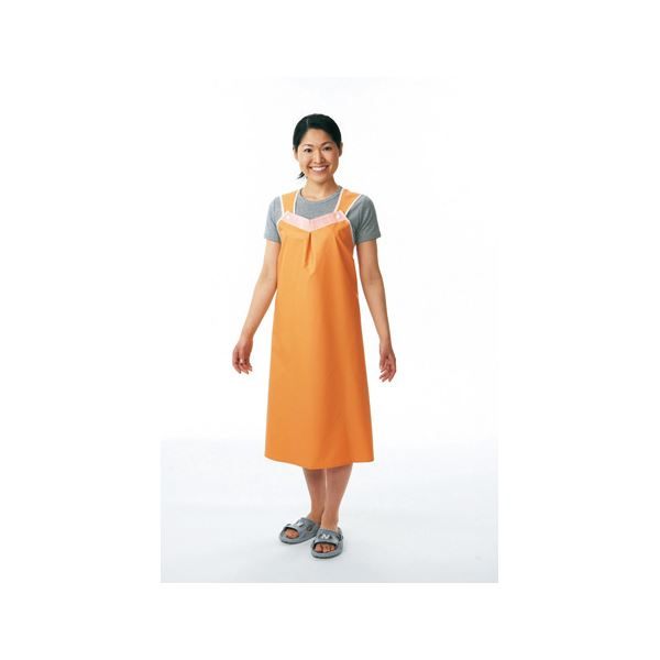 便利 日用品 入浴介助エプロン 軽やか介助用エプロン(3)ショートタイプ オレンジ 102-40-8CA