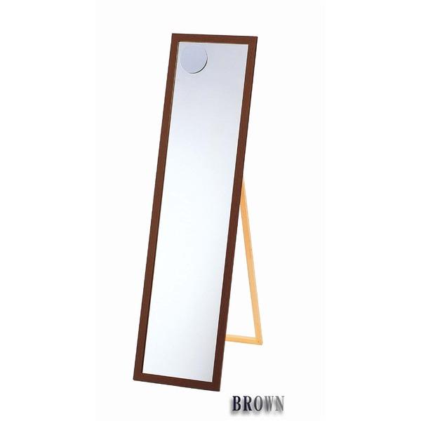 ミラー・鏡 関連商品 日本製【壁掛け鏡】ウォールミラー木製の鏡 ■拡大鏡付姿見 4尺(スタンド付) (ブラウン)