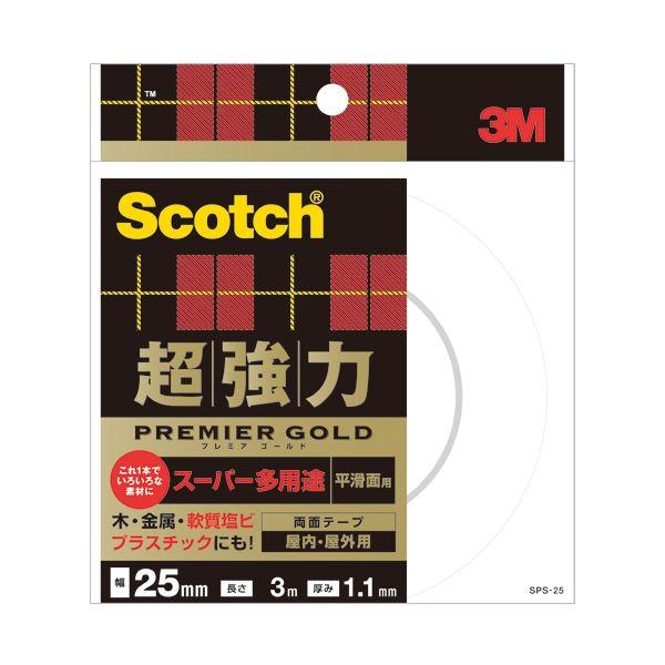 文具・オフィス用品 (まとめ) 3M スコッチ 超強力両面テープ プレミアゴールド (スーパー多用途) 25mm×3m SPS-25 1巻 【×4セット】