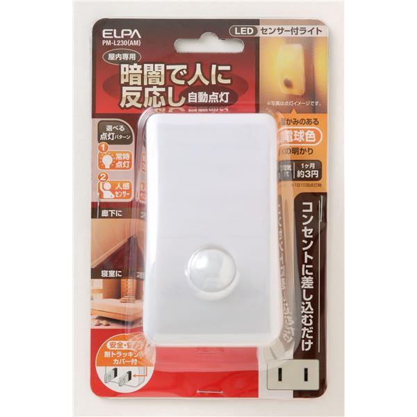 日用品 便利 (業務用セット) LEDナイトライト 明暗&人感センサー アンバー PM-L230(AM) 【×3セット】