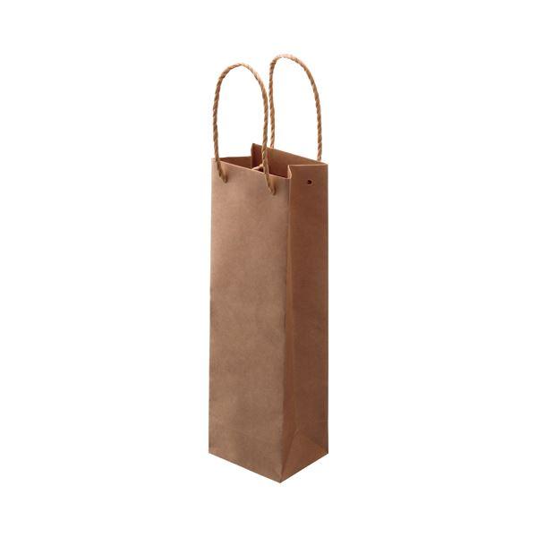 文具・オフィス用品 (まとめ) TANOSEE 紙手提袋 ワイン用 タテ長 ヨコ110×タテ360×マチ幅90mm 茶 1パック(30枚) 【×2セット】