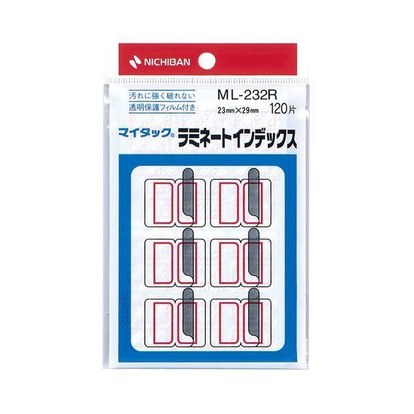 (まとめ) ニチバン マイタック ラミネートインデックス 保護フィルム付 中 23×29mm 赤枠 ML-232R 1パック(120片:12片×10シート) 【×30セット】