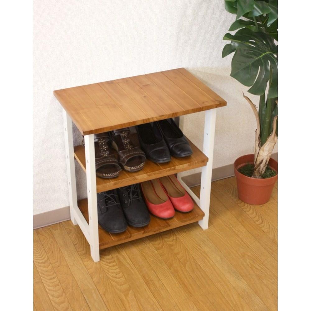 シューズBOX 靴/ブーツ キッチン リビング にも 2WAYブーツ収納玄関ラック ナチュラル×ホワイト