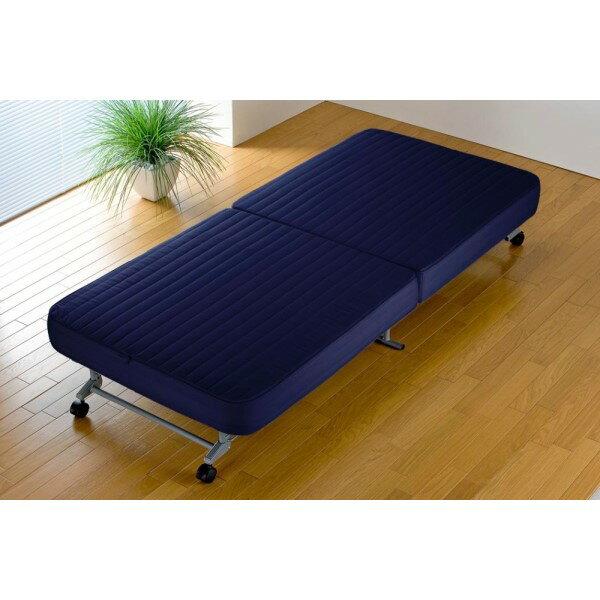 折り畳み ベッド すだけですぐ使える  インテリア すぐ使える折りたたみベッド ネイビー