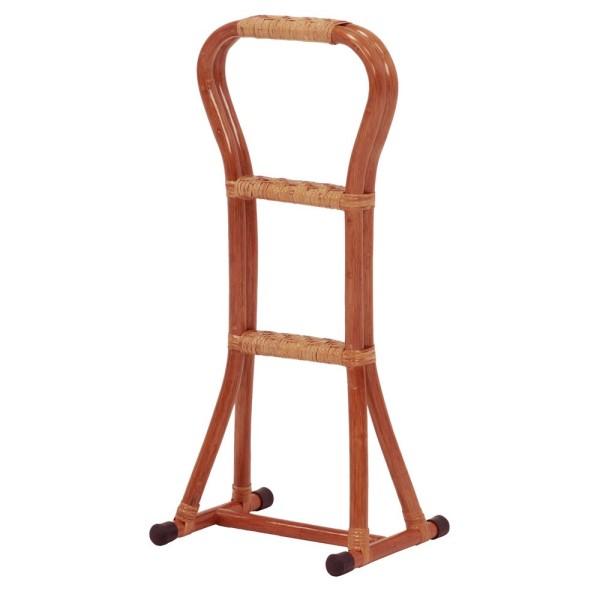 四本杖 四本足つえ 四本脚ステッキ サポート杖 軽い 丈夫 な ラタン を 使用 三段階 の バー で 低い位置 からでも RATTAN CHAIR 立ち上がりステッキ