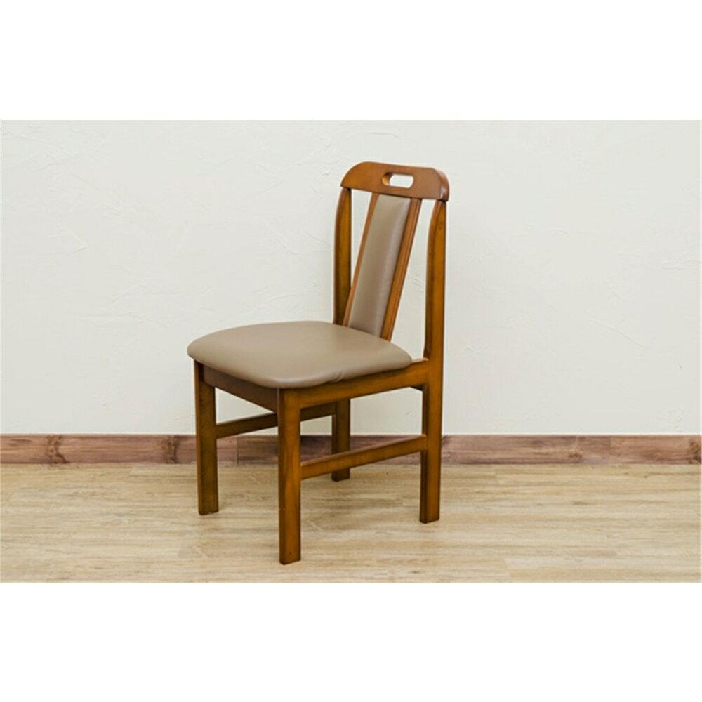 椅子 リビング チェアー 持ち手穴 ダイニングチェア 2脚セット カラー:ライトブラウン