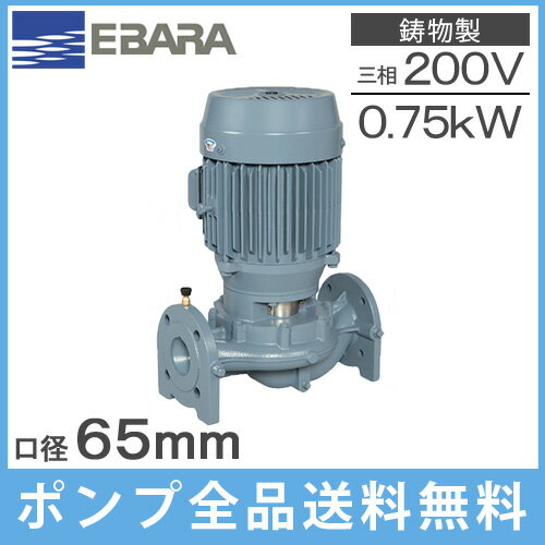 【送料無料】エバラ ラインポンプ 65LPD5.75E 65mm/0.75kw/50HZ/200V [荏原 循環ポンプ 給水ポンプ LPD-E型]