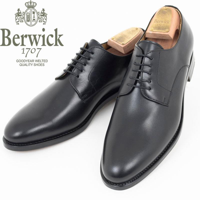 Berwick1707|バーウィック ブラック プレーントウ レザー シューズ