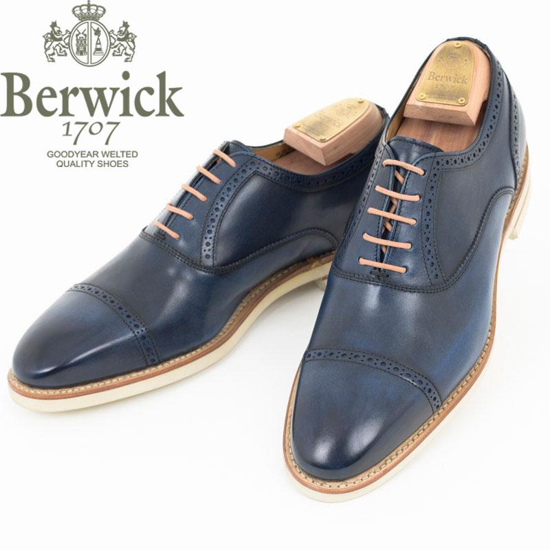 Berwick1707|バーウィック ネイビー クォーターブローグ ストレートチップ ラバーソール レザー シューズ