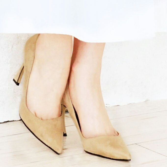 (ベージュ)脚をキレイに魅せる。拘り楽ちんパンプス【F170504】