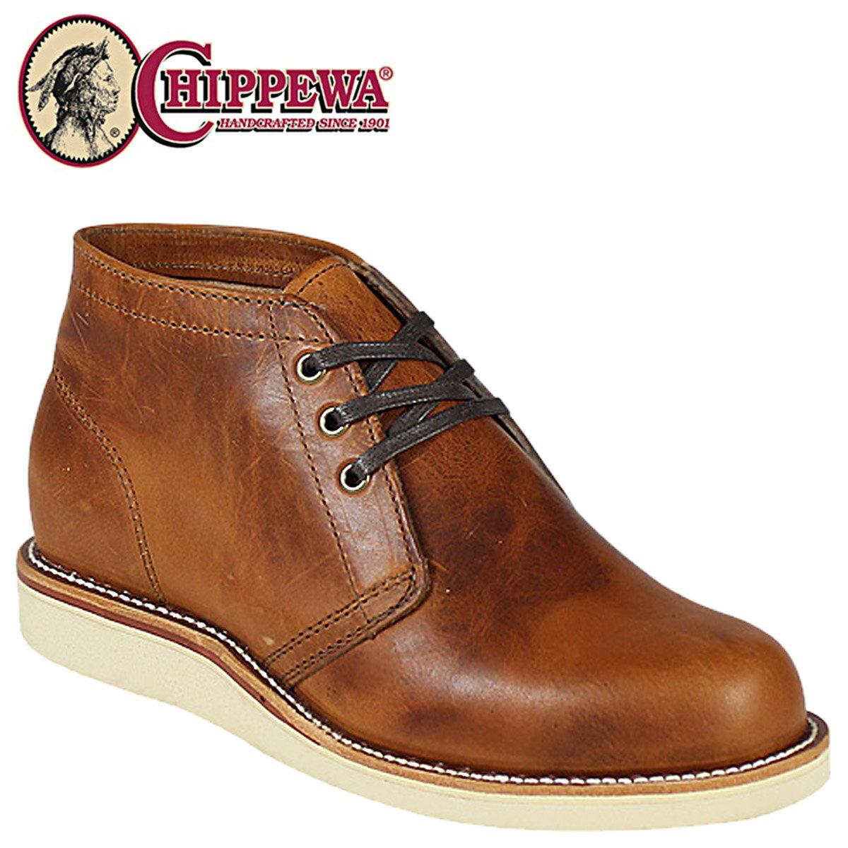 CHIPPEWA チペワ 5インチ プレーン トゥ チャッカ ブーツ 5INCH PLAIN TOE CHUKKA BOOT Eワイズ レザー 4025 タン メンズ [S10][返品不可]