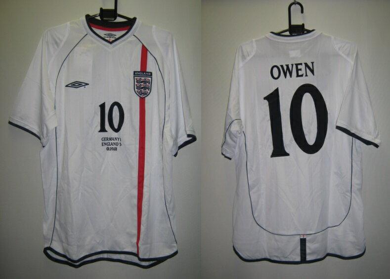 アンブロ 2001 UDS7677 イングランド オーウェン 10番入り レプリカ ホーム ゲームシャツ 半袖